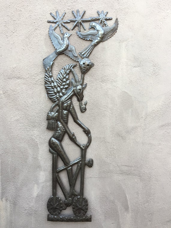 "Goat riding a Bike, Haiti Voodoo Metal Wall Art  11"" x 35"" REC875"
