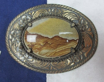 Vintage 1980's Sandstone Landscape and Paisley Floral Belt Buckle Stone Setting Western Wear Desert Cowboy Rodeo Polished Mountains