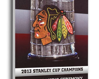 Chicago Blackhawks 2013 Stanley Cup Champions Banner Raising Canvas Mega Ticket