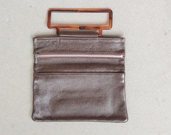 RARE! 1960's Mini Fold Over Clutch - 60's Fold Over Leather Purse