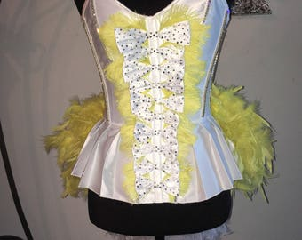 White and Yellow Crystal Corset With Feather Bustle. Burlesque Cabaret Vintage Dance Costume