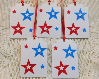 July 4th Gift Tags, Fourth of July Gift Tags, July 4th Stars, Fourth of July Party, July 4th Party, Independence Day Party, Red White Blue
