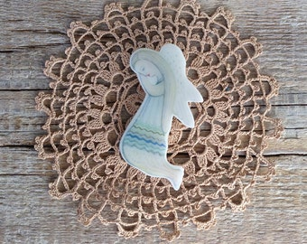 Angel Brooche-Angelina,Angel Badge,Praying Angel Pin,Christmas Angel Pin,Guardian Angel Brooch,Holiday Jewelry,Valentines Day Gift,For Her