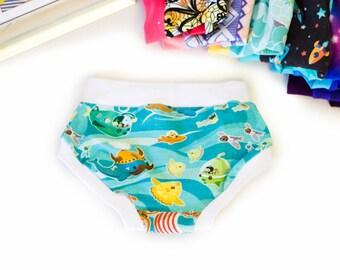 Underwater Adventure Cloth Pull Ups - Potty Training Pants - Training Pants - Cloth Training Pants - Training Scrundies - Training Underwear