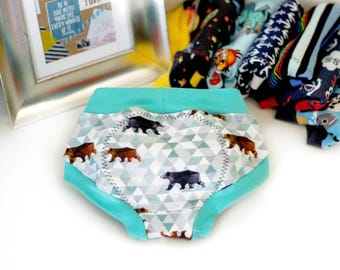 Marching Bears Training Pants - Cloth Training Pants - Potty Training Pants - Cloth Pull Ups - Training Scrundies -Underwear-Cloth Trainers