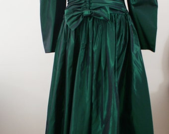Green Tafetta & Velvet Retro 80's Long Sleeve Puffy Sleeve Prom Formal Dress Size Medium BT-598