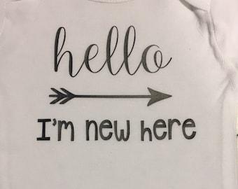 Hello I'm New Here Bodysuit / baby bodysuit / baby gift / - NB