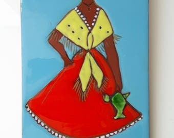 Vintage Ceramic Wall Tile Plaque, Art, Decorative, Illustration Woman in Red Dress, Folklore, 60's, Colour, Handpainted, Glaze