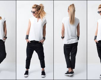 Black Cotton Pants / Loose comfortable trousers / Low bottom pants