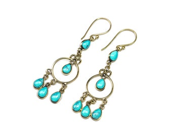 Turquoise and Brass Dangle and Drop Long Earrings Multi Gemstone Earrings Free UK Delivery Gift Boxed BHG1
