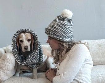 pom pom knit hat and cowl, hand knit set, infinity scarf, chunky knits, chunky knit hat, soft wool, women knit hat, men beanie, kid knit hat