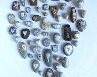 Pebbles * Hand Painted Pebbles * Pebble Art * Heart Paintings  *  Wedding Pebbles * Wedding Favours