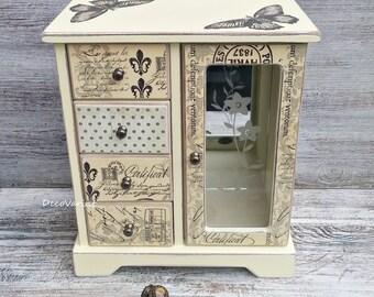 jewellery armoire, butterfly jewellery box, vintage jewellery box, vintage jewelry box, shabby chic jewellery box, large jewellery box