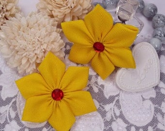 Yellow fabric flowers, ribbon applique flowers, scrapbook flowers, gift wrapping flowers, yellow embellishments, wedding flowers