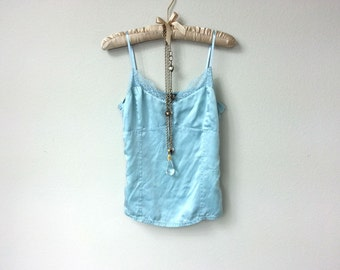 Pretty Light Vintage Periwinkle Blue Silk and Lace Camisole, Spaghetti Strap Tank Top, Boudoir Tank Top, Great Gatsby, Art Deco, Blue