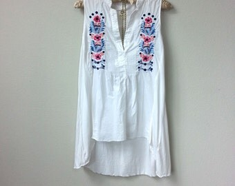 Colorful Vintage Blue and Fuchsia Embroidered Trim, White Cotton Sleeveless Blouse with Split V Neck and High Low Hem