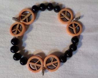 PEACE PUMPKIN Goth Bracelet with Extra Stretch OOAK **Listing Ends July 1st, 2017**