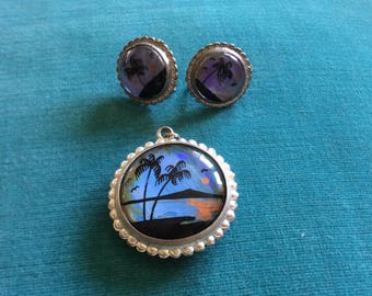 Vintage Genuine Butterfly Wing Jewelry Set Screw Back Earrings and Pendant Sterling Silver 1950s