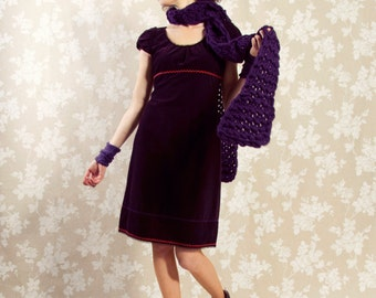 Dress BIO-Gautzelin: organic cotton, fine-corduroy, aubergine