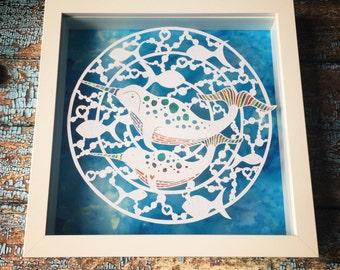 Original framed narwhals papercut  - Original Art