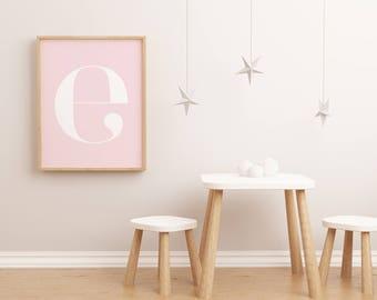 "E Letter Scandinavian Printable Poster - 70x100 cm, 50x70 cm , A4 , 8x10"" Nursery Print Letters - Typography Print - B Letter Wall Art ABCD"