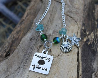 Dreaming Of The Sea Silver Charm Necklace - Beachwear - Beach Jewelry - Charm Jewelry - Coastal Necklace - Mermaid Gifts - Bikini - Summer
