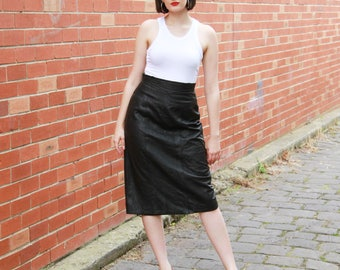 Vintage 1980s Black Leather Skirt / Leather Skirt / High Waist / MOD / M