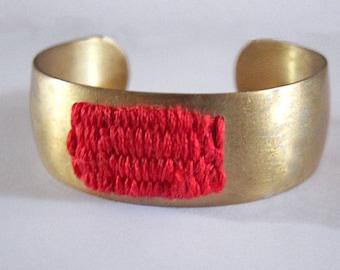 Brass cuff - Red Cotton - Woven Bracelet - Statement Bracelet