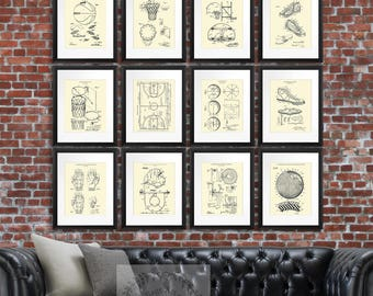 Basketball Posters set of 12 Unframed Cream colored Basketball Gear Prints basketball player gift basketball coach basketball gift for him
