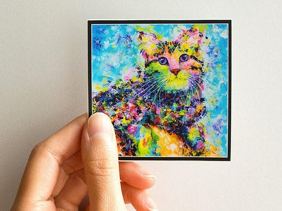 Vinyl Cat Sticker - Cat Stickers, Cat Decal, Art Sticker, Vinyl Sticker, Laptop Sticker, iPad Sticker, Car Sticker, Waterproof Sticker.