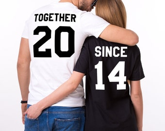 Together Since Shirts, Couple Shirts, Couples shirts, Together Since Set of 2 Couple Shirts, Black/White/Gray, UNISEX