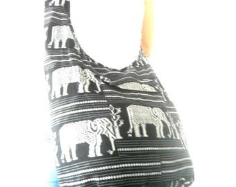 Shoulder Bag Sling Thai Hippie Hobo Nepal Black White Gray Color Bag Crossbody Bag Hippie Boho Bohemian Bag Purse  Messenger Gift Bag