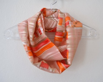 Orange Red Ecru Chiffon Satin Infinity Scarf, Striped Scarf, Summer Fashion, Women Accessories, Spring, Summer, Fall
