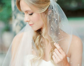 Rhinestone juliet cap veil, cap veil, tulle veil, juliet veil, crystal veil, wedding veil, bridal veil, Style V37