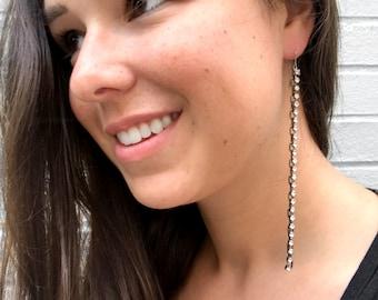 Extra Long Earrings, Statement Jewelry, Black Earrings, Modern Jewelry For Her, Rhinestone Chain Earring, Titanium Earring, Crystal Earrings