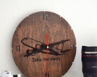 Pilot gift Wall Clock Wooden Airplane Room Decor Aviation Round Hanging Wanderlust Travel Gift for Her Flight Attendant Girlfriend Adventure