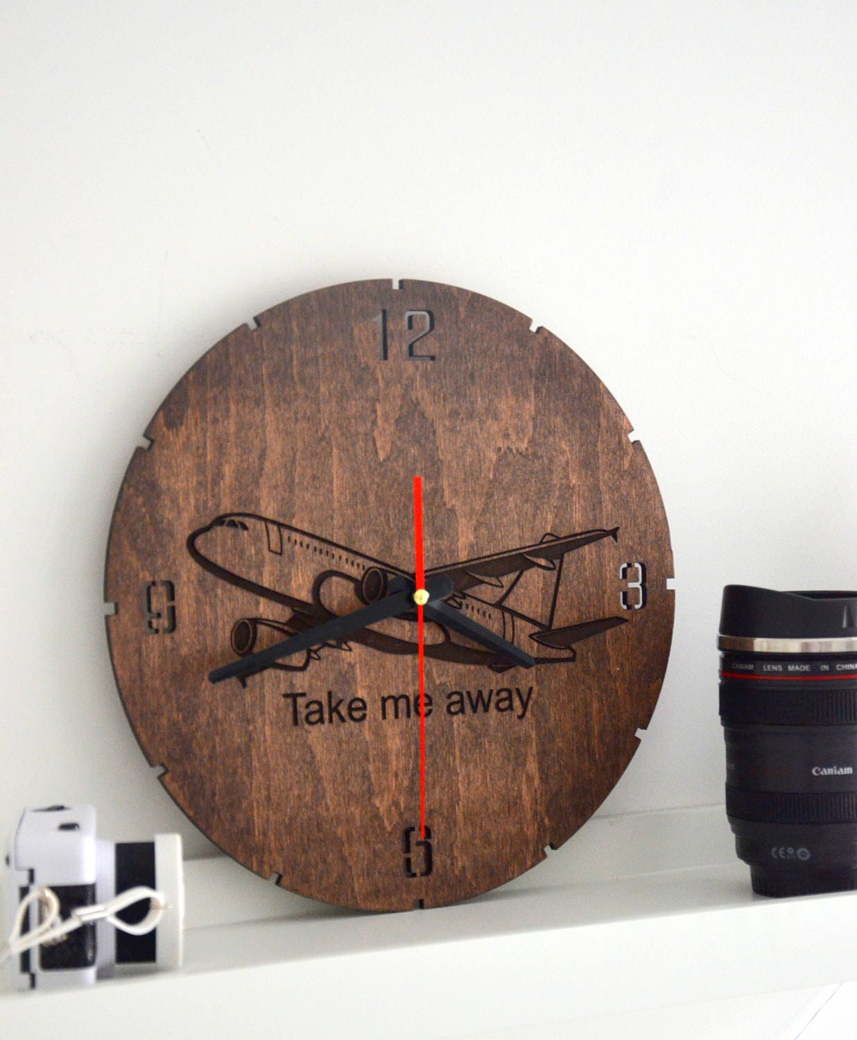 Wooden Airplane Wall Decor : Pilot gift wall clock wooden airplane room decor aviation