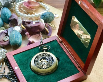 Engraved Steampunk pocket watch gift for men - free UK delivery