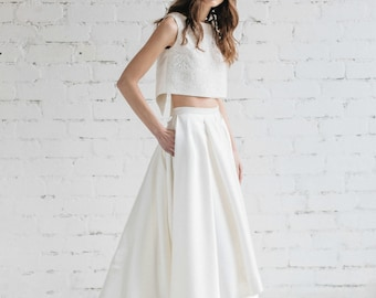 Wedding Skirt , Bridal High Low Skirt , Bridal Skirt With Pockets ,Ivory Champagne Wedding Skirt, Bridal Separates , Skirt With Train - LILY