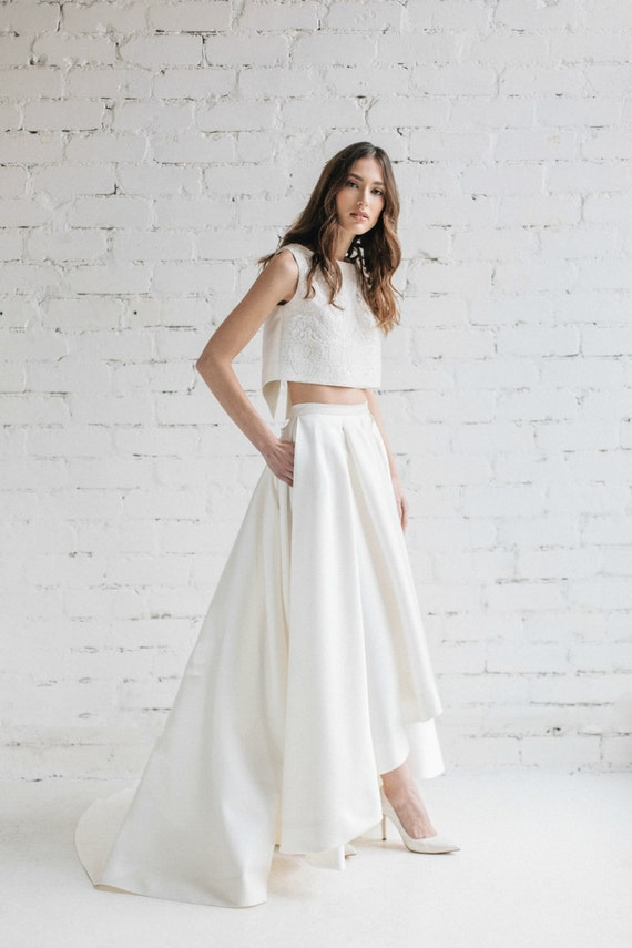 Wedding skirt bridal separates bridal skirt high low like this item junglespirit Gallery