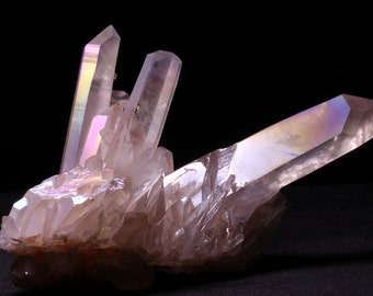 7.5-inch Angel Opal Aura Quartz Cluster with Display Stand