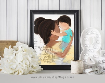 Mother and Son - Dark Brown Black Hair  - Boy's Room Wall Art Print Gift