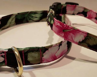 Hawaiian pink hibiscus dog collars