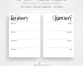 2017 Planner pages, A5 Planner, Weekly inserts, Weekly organizer, Organizer inserts, Printable planner pages, A5 printable, Instant download