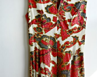 Vintage Sparkly Floral Maxi Dress, 1960's Long Sleeveless Dress, Full Length Red Floral  Dress, Party Dress, Metallic Thread Dress