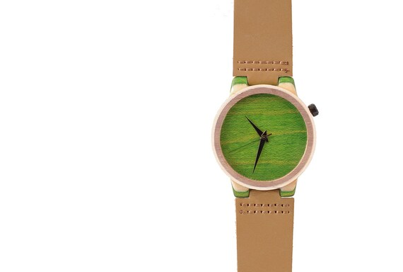 7PLIS watch #53 Recycled SKATEBOARD #madeinfrance yellow brown green wood