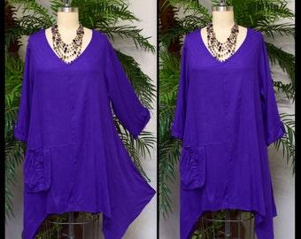 Lagenlook Tunic,  Asymmetrical Tunic, Purple Top , Plus size tunic, Swing Tunic with 3 Pockets . Size L/XL- 1XL/2XL- 3XL/4XL