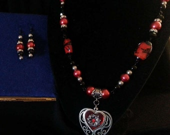 Red and Black Heart Jewelry Set