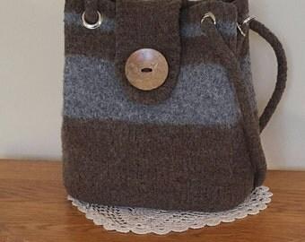 Wool Felted purse handbag shoulder bag wool yarn felted handknit purse,tote, bag, purse organizer, brown & gray purse