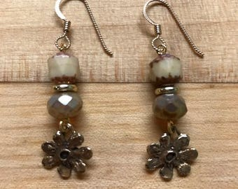 Cream and bronze flower drop earrings